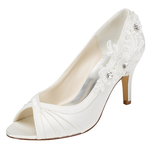 Women's Satin With Rhinestone/Appliqued Peep Toe Pumps Heels Wedding Shoes