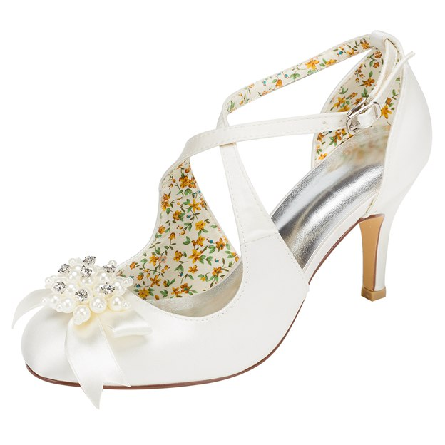 Women's Satin With Imitation Pearl/Bowknot Heels Pumps Close Toe Wedding Shoes