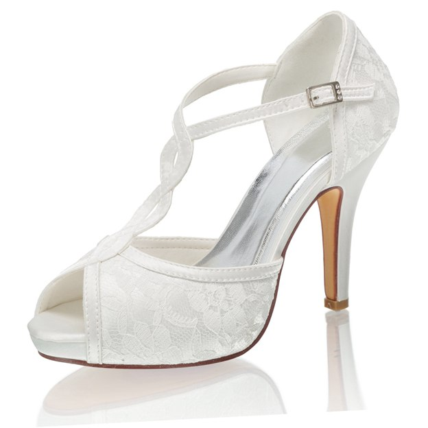Women's Lace Heels Peep Toe Wedding Shoes