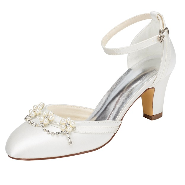 Women's Satin With Imitation Pearl/Buckle/Beading Pumps Heels Close Toe Wedding Shoes