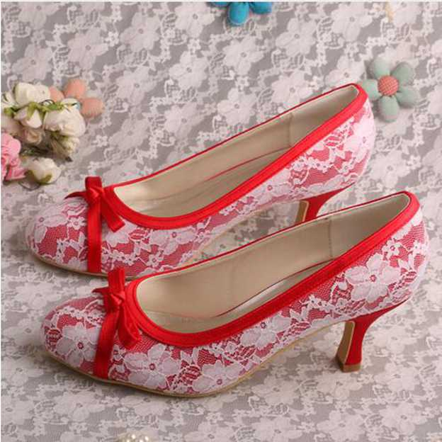 Women's Lace With Bowknot Close Toe Heels Pumps Wedding Shoes