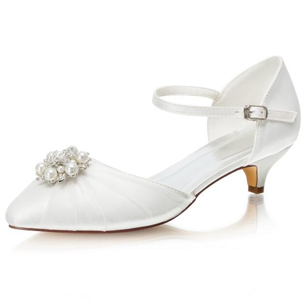 Women's Satin With Rhinestone/Pleated/Buckle/Beaded Close Toe Wedding Shoes