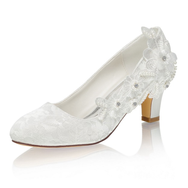 Women's Lace With Imitation Pearl/Beaded/Appliqued Heels Close Toe Wedding Shoes
