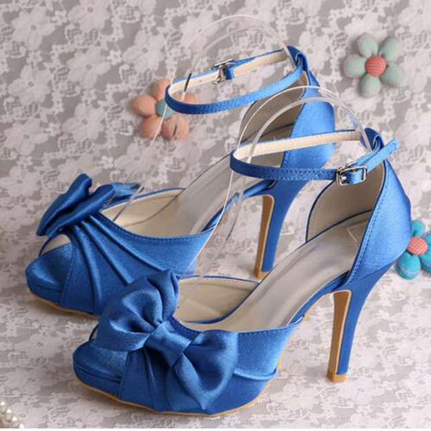 Women's Satin With Buckle/Bowknot/Pleated Heels Pumps Peep Toe Wedding Shoes