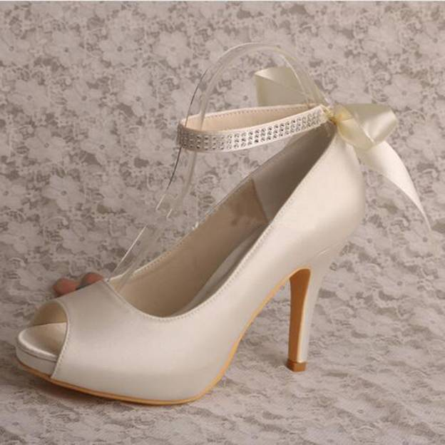Women's Satin With Bowknot Ankle Strap Heels Pumps Peep Toe Wedding Shoes