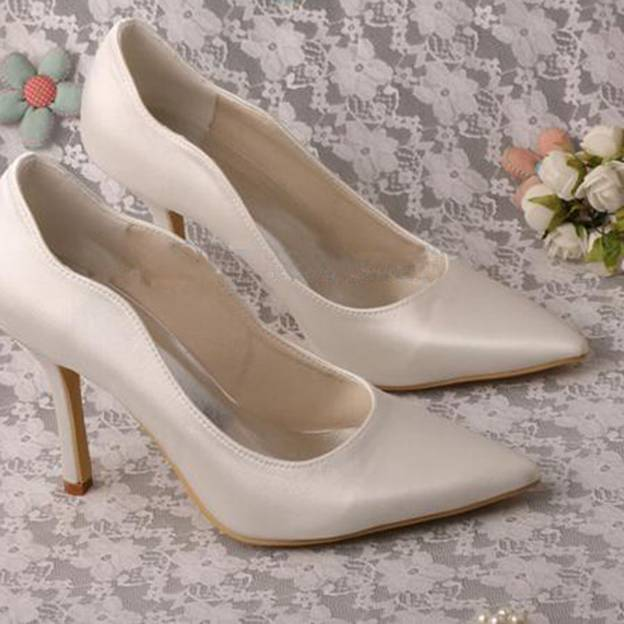 Women's Satin Close Toe Pumps Heels Wedding Shoes