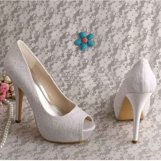 Women's Lace Heels Pumps Peep Toe Wedding Shoes