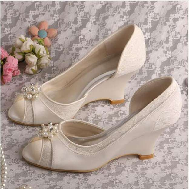 Women's Lace Satin With Imitation Pearl Platform Pumps Peep Toe Heels Wedding Shoes