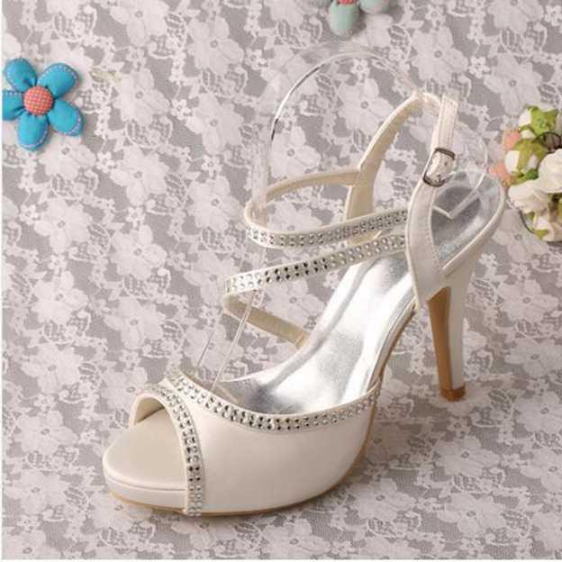 Women's Satin With Rhinestone/Buckle Peep Toe SlingBacks Pumps Heels Wedding Shoes