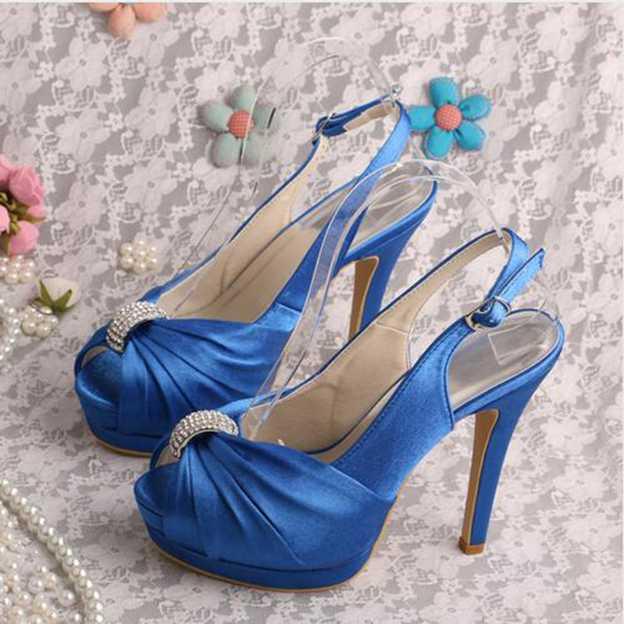 Women's Satin With Rhinestone/Pleated Peep Toe SlingBacks Pumps Heels Wedding Shoes