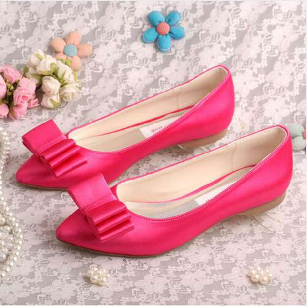 Women's Satin With Bowknot Close Toe Flats Wedding Shoes