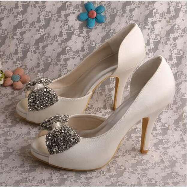 Women's Satin With Rhinestone Bowknot Heels Peep Toe Pumps Wedding Shoes