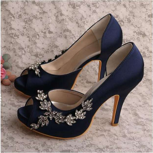 Women's Satin With Rhinestone Heels Peep Toe Pumps Wedding Shoes