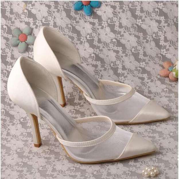 Women's Satin Close Toe Pumps Heels Wedding Shoes