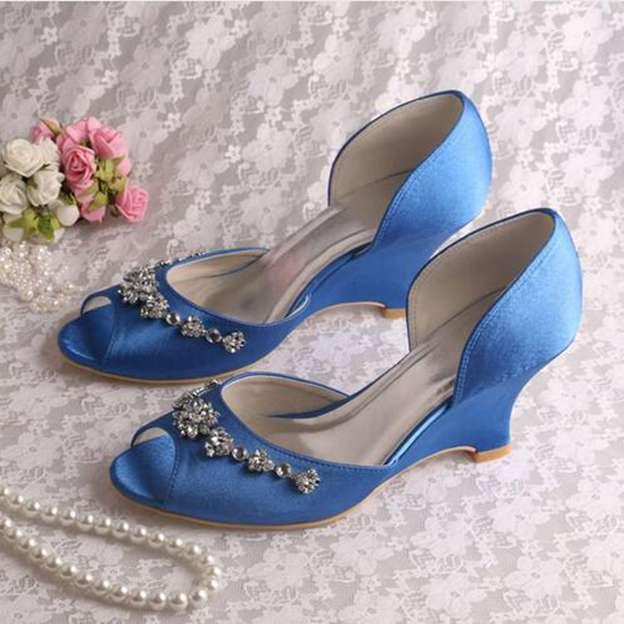 Women's Satin With Rhinestone Heels Peep Toe Pumps Wedding Shoes