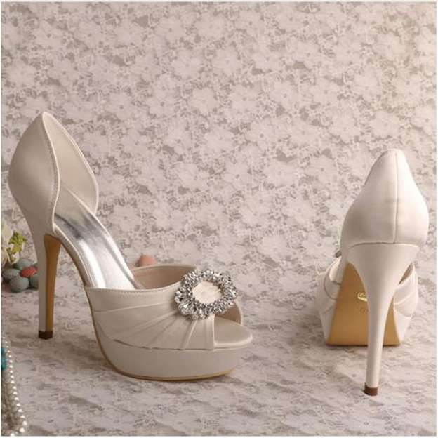 Women's Satin With Rhinestone/Pleated Peep Toe Pumps Heels Wedding Shoes