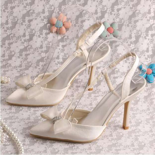 Women's Satin With Rhinestone/Bowknot Pumps SlingBacks Heels Close Toe Wedding Shoes