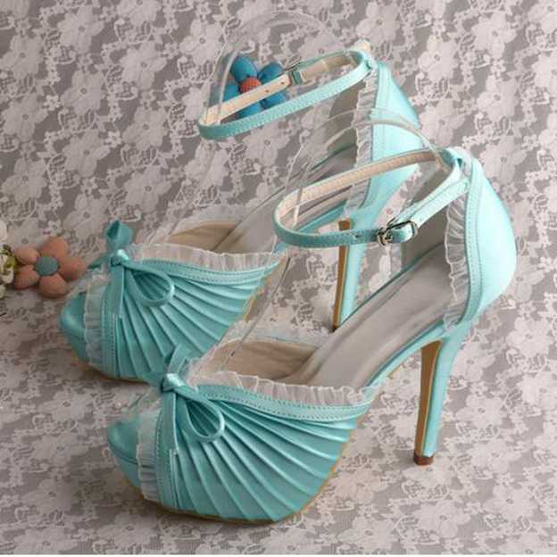 Women's Satin With Bowknot/Buckle/Ruffles/Pleated Heels Pumps Peep Toe Wedding Shoes
