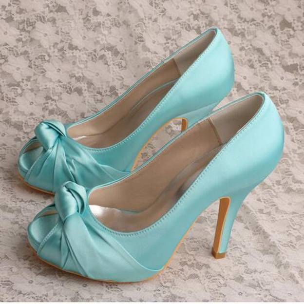 Women's Satin With Pleated Heels Pumps Peep Toe Wedding Shoes