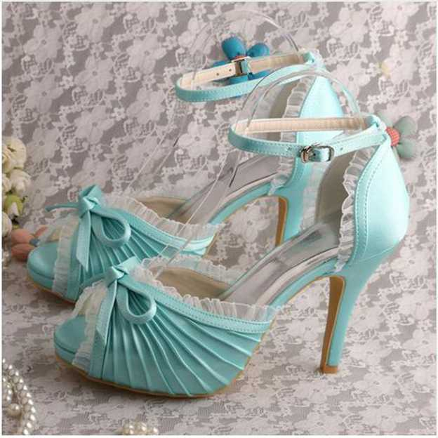 Women's Satin With Pleated/Bowknot/Buckle/Ruffles Peep Toe Pumps Heels Wedding Shoes