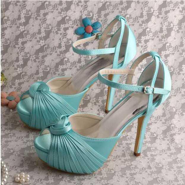 Women's Satin With Pleated/Buckle Heels Pumps Peep Toe Wedding Shoes