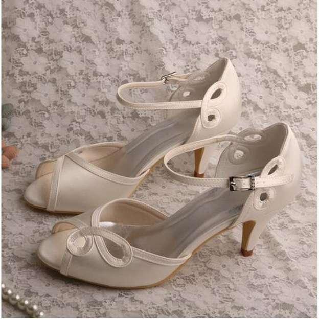 Women's Satin With Buckle Peep Toe Pumps Heels Wedding Shoes