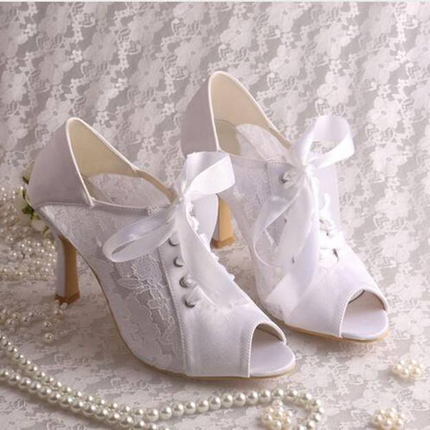 Women's Lace With Ribbon Tie Heels Pumps Peep Toe Wedding Shoes