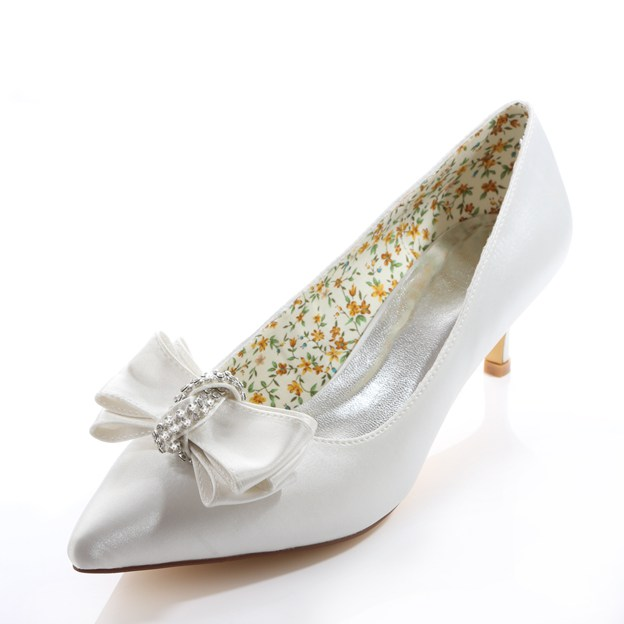 Women's Satin With Rhinestone Bowknot Heels Pumps Close Toe Wedding Shoes