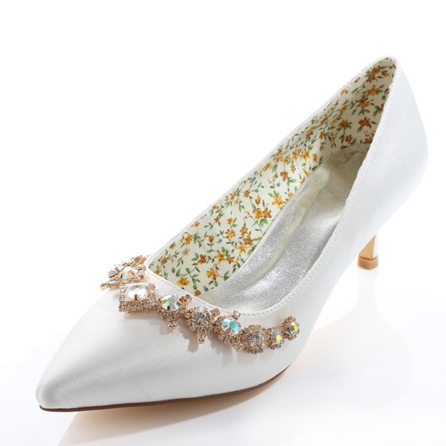 Women's Satin With Rhinestone Heels Pumps Close Toe Wedding Shoes