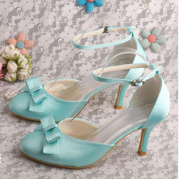 Women's Satin With Buckle Bowknot Heels Pumps Close Toe Wedding Shoes