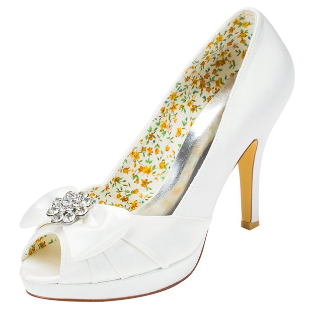 Women's Satin With Rhinestone/Pleated/Bowknot Pumps Peep Toe Heels Wedding Shoes