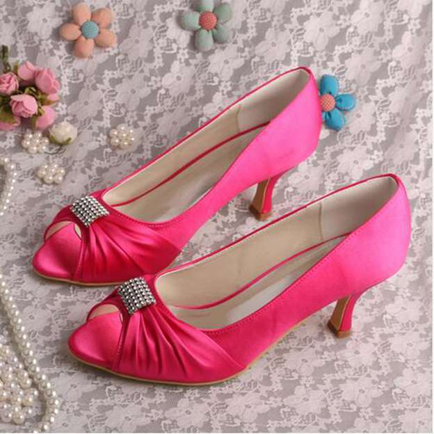 Women's Satin With Rhinestone Pleated Peep Toe Pumps Heels Wedding Shoes