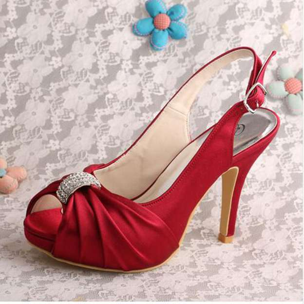 Women's Satin With Rhinestone Pleated Peep Toe Pumps Heels Wedding Shoes