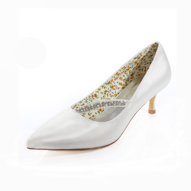 Women's Satin With Rhinestone Heels Pumps Close Toe Wedding Shoes