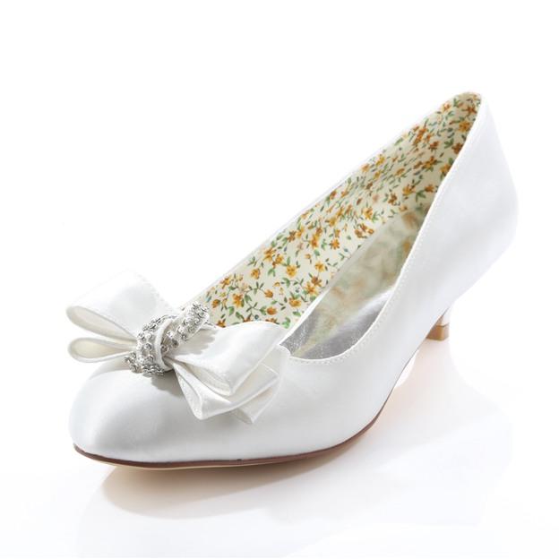 Women's Satin With Rhinestone Bowknot Close Toe Wedding Shoes