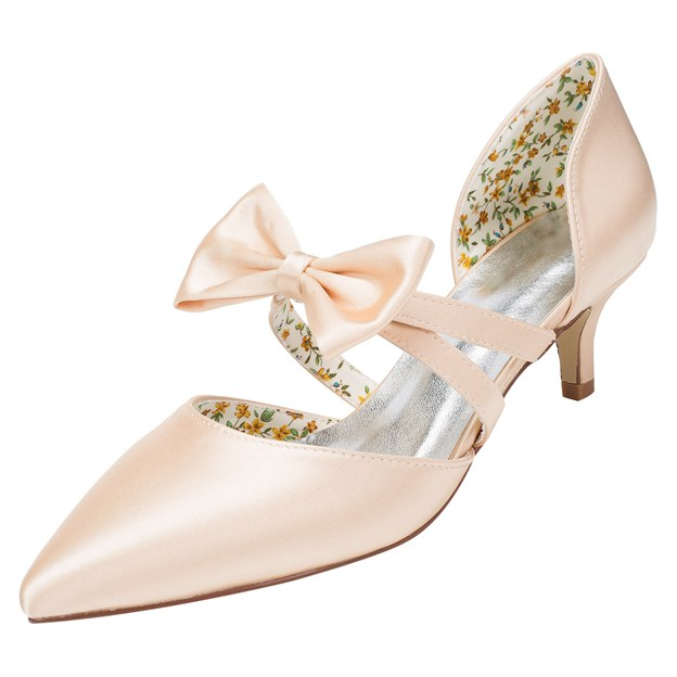 Women's Satin With Bowknot Close Toe Heels Wedding Shoes