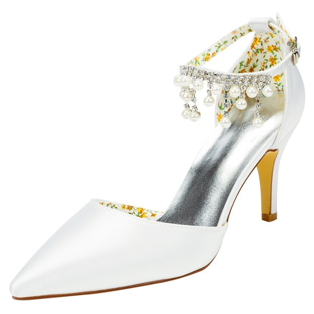 Women's Satin With Rhinestone/Buckle/Beading Heels Close Toe Wedding Shoes