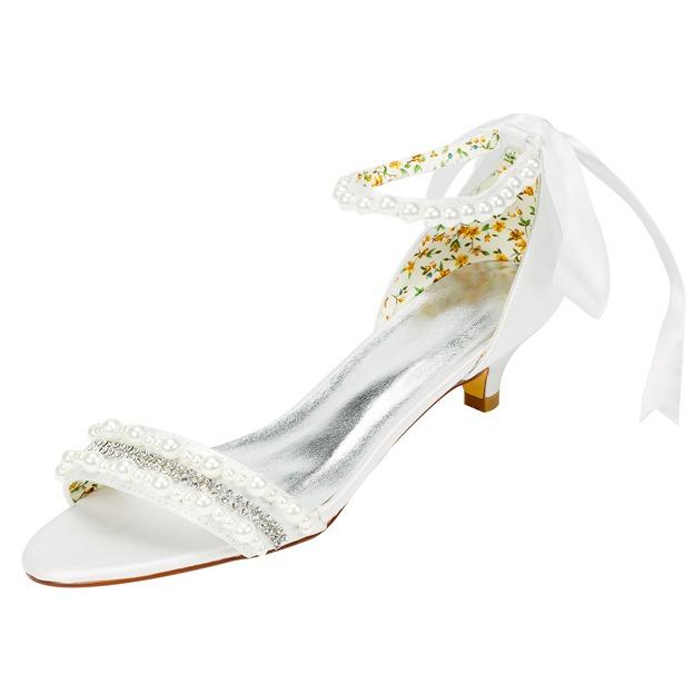 Women's Satin With Rhinestone/Beading Peep Toe Wedding Shoes