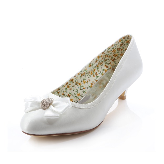 Women's Satin With Rhinestone Bowknot Close Toe Wedding Shoes