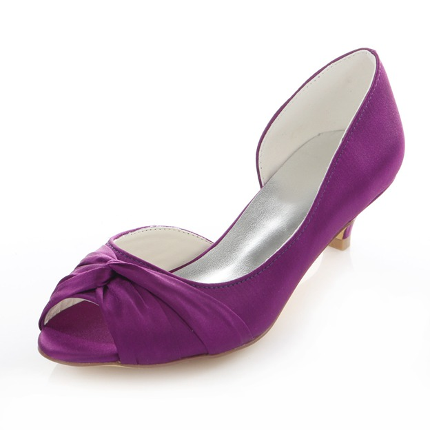 Women's Satin Peep Toe Wedding Shoes