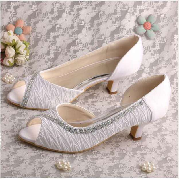 Women's Cloth With Rhinestone Heels Pumps Peep Toe Wedding Shoes
