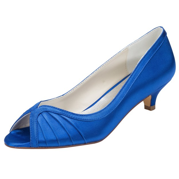 Women's Satin With Pleated Peep Toe Wedding Shoes