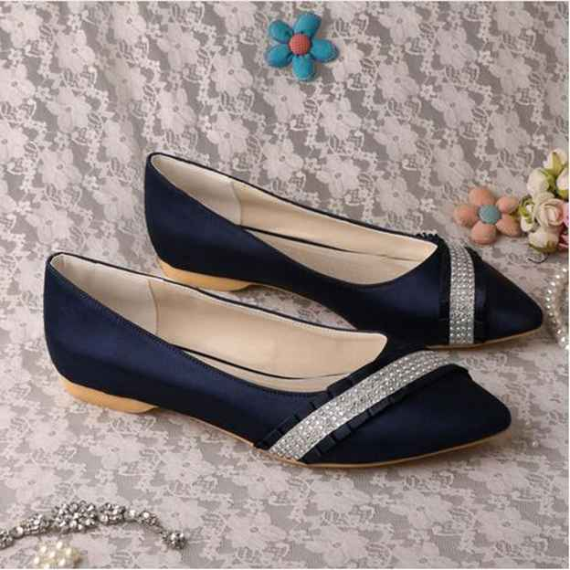Women's Satin With Rhinestone Close Toe Flats Wedding Shoes