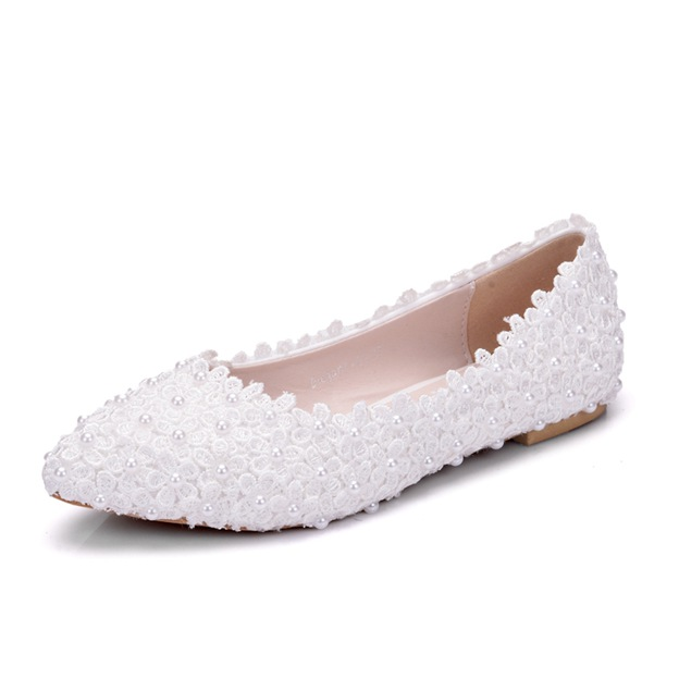 Women's PU With Lace/Imitation Pearl Close Toe Flats Wedding Shoes