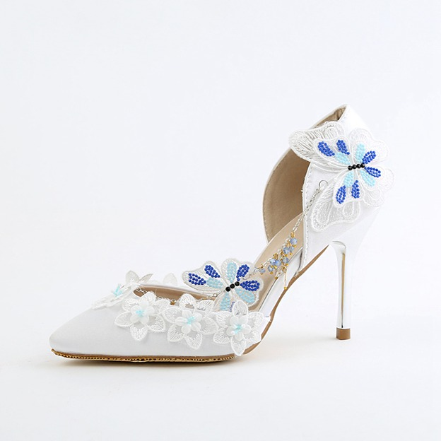 Women's PU With Beading/Appliqued Heels Close Toe Wedding Shoes