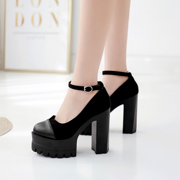 Women's Leatherette With Ankle Strap Platform Heels Close Toe Fashion Shoes