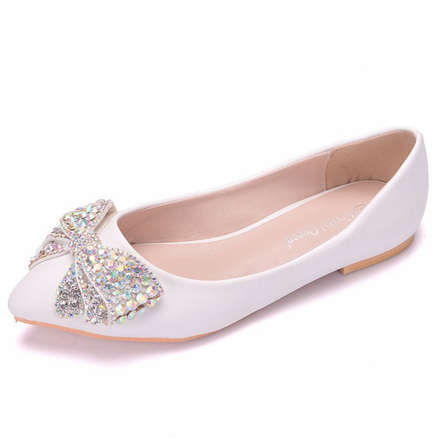 Women's PU With Bowknot Flats Close Toe Wedding Shoes