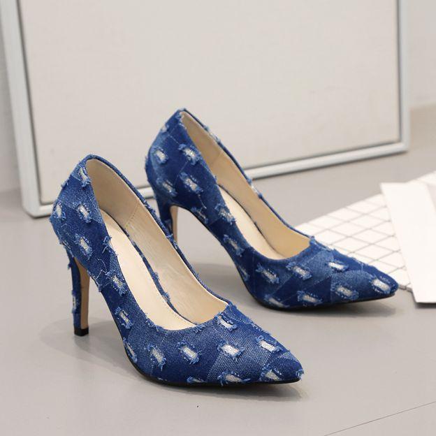 Women's Denim Heels Pumps Close Toe Fashion Shoes