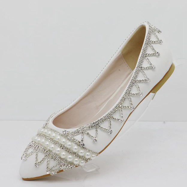 Women's PU With Rhinestone/Imitation Pearl Close Toe Flats Wedding Shoes
