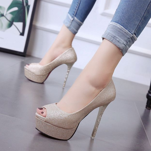 Women's Microfiber Leather Heels Pumps Platform Fashion Shoes